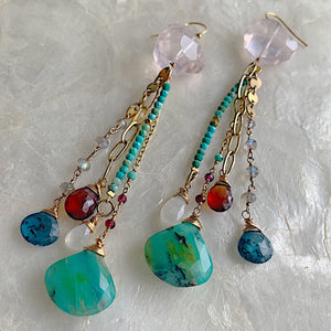 Peruvian Opal Gemstone Tassel Duster Earrings
