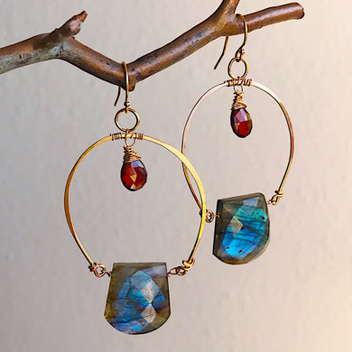 Half Hoop Earrings with Garnets and Labradorite