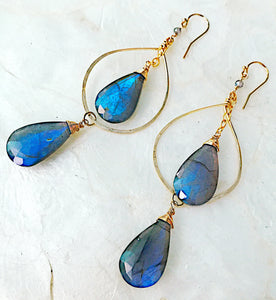 Double Labradorite Swing Hoops