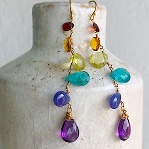 Linked Gemstone Spectrum Earrings