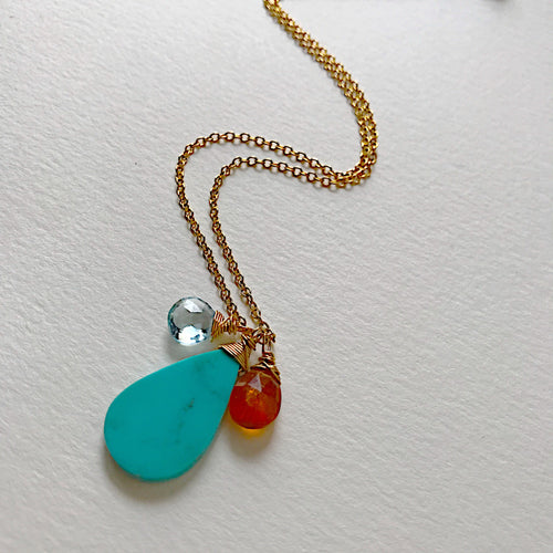 Blue Topaz, Turquoise, Orange Kyanite Triple Necklace
