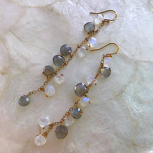 Moonstone and Labradorite Cluster Earrings