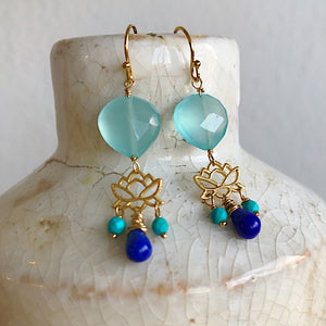 Lapis and Turquoise Lotus Earrings