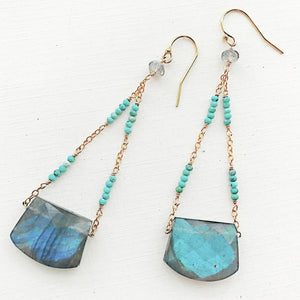 Labradorite and Turquoise Chain Earrings