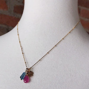 Lotus Necklace with Topaz and Pink Sapphire