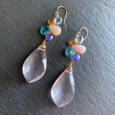 Luxe Sea Dusk Rose Quartz Woven Earrings