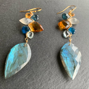 Ice and Honey Woven Labradorite Earrings