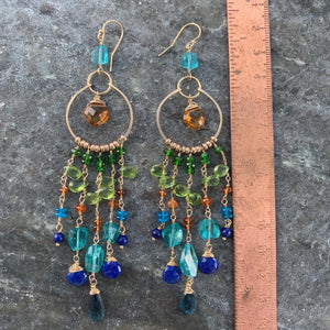Peacock Luxe Chandelier Earrings