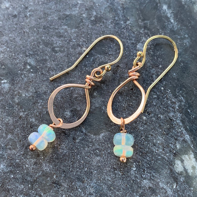 Petite Welo Opal Rose Gold Earrings