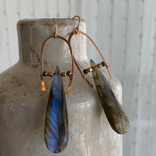 Rose Gold Half U-Hoop Earrings with Labradorite