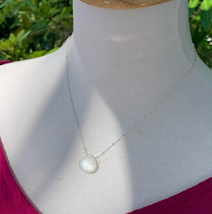 Luminous Solitaire White Moonstone Necklace (Silver)