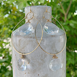 Quartz Double Hoops