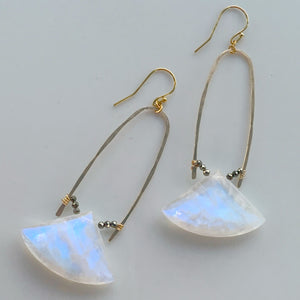Gold Half U-Hoop Earrings with Rainbow Moonstone