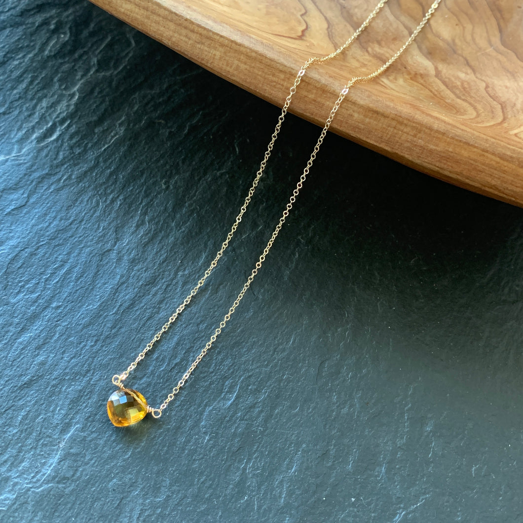 Tiny Solitaire: Citrine on Gold