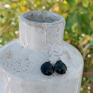 Petite Sterling Black Spinel Drops