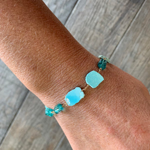 The Cool Water Bracelet- Turquoise and Apatite