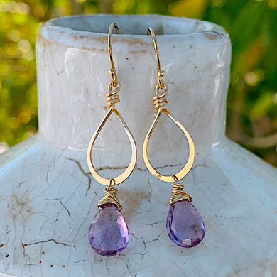 Petite Pink Amethyst Gold Earrings