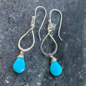 Petite Sterling Turquoise Drops