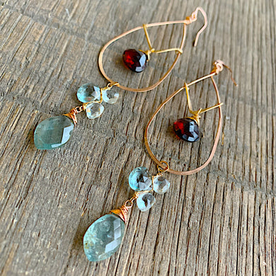 Aquamarine & Garnet Teardrop Hoops