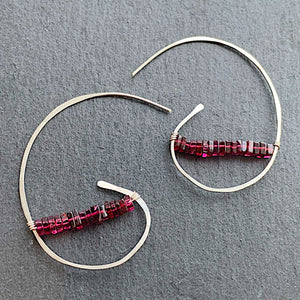 Sterling Garnet Bean earrings
