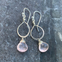 Petite Sterling Rose Quartz Drops