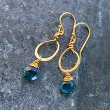 Petite London Topaz Gold Earrings