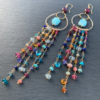 Jellyfish Sunset Gemstone Chain Duster Earrings