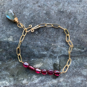 The Horizon Bracelet- Garnet with Labradorite