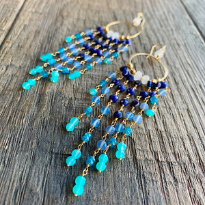 Mykonos Luxe Gemstone Chain Duster Earrings