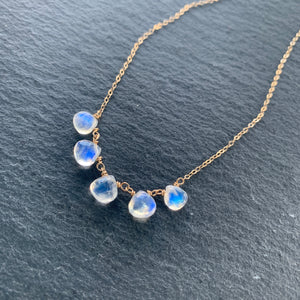 Luxe Petite Collection: Rainbow Moonstone on 14k Gold