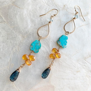Turquoise and Mandarin Garnet Gold Earrings
