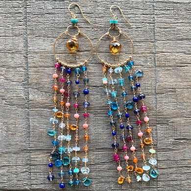 Luxe Key West Sunset Chandelier Earrings