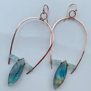 Half U-Hoop Earrings with Labradorite