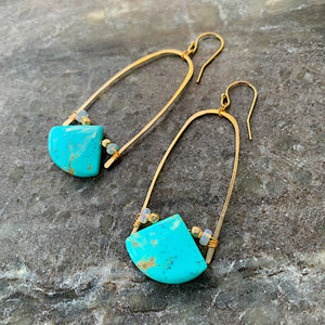 Gold Half U-Hoop Earrings with Turquoise