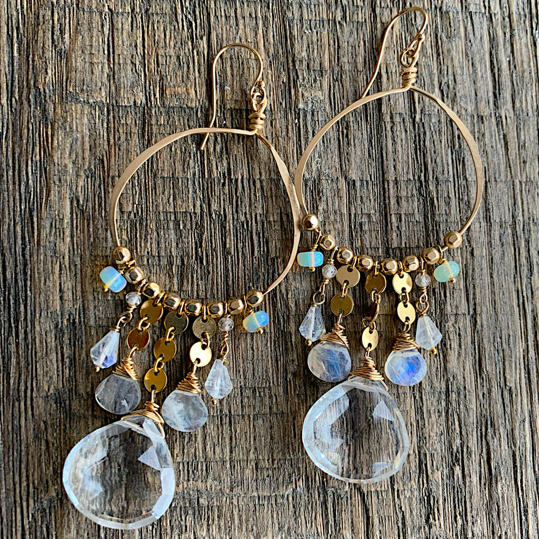 Quartz Tassel Duster Hoop Earrings