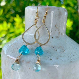 Simple Apatite and Topaz Gold Earrings