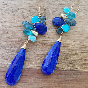 Sea Jewels Woven Lapis Earrings