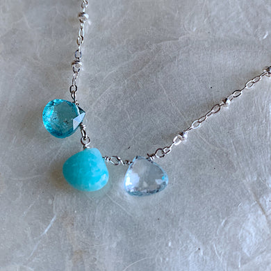 Triple Necklace- Apatite, Amazonite, Topaz