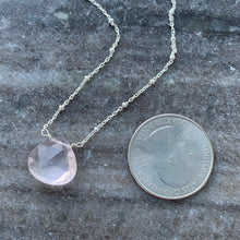 Petal Pink Solitaire Rose Quartz Necklace (Silver)