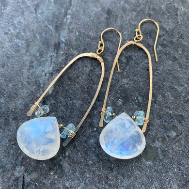Moonstone briolette Gold Half U-Hoop Earrings