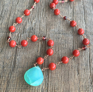 Peruvian Opal and Coral Necklace