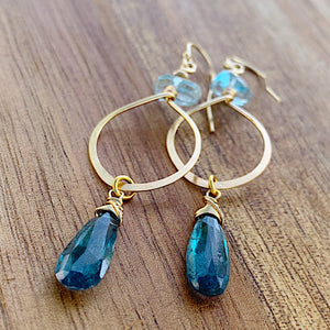 Simple Deep Sea Hoop Earrings (gold)