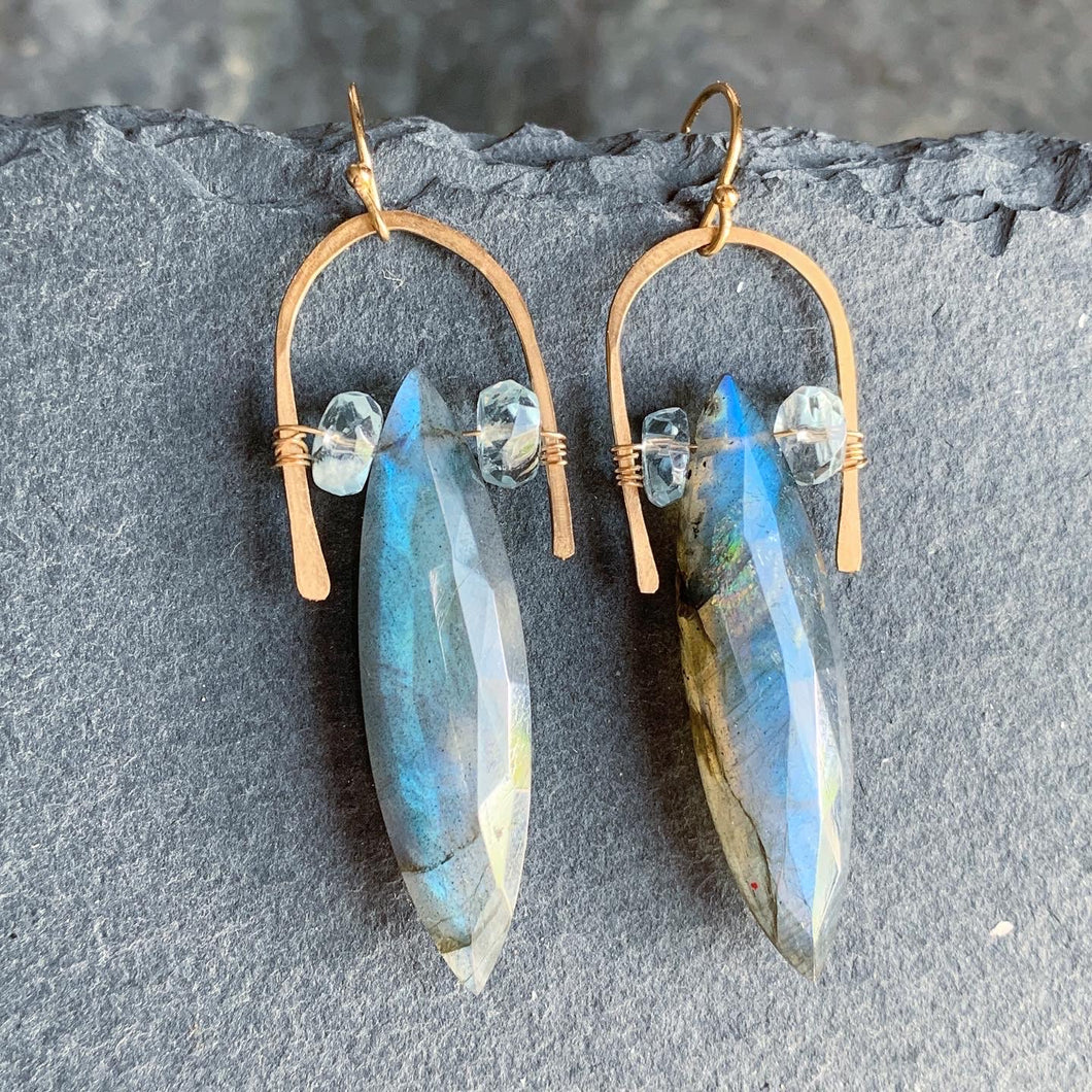Gold Half U-Hoop Earrings with Labradorite