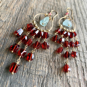 Garnet Dreamcatcher Earrings
