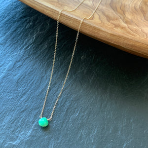 Tiny Solitaire: Chrysoprase on Gold