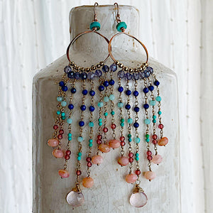 Winter Sunset Gemstone Chain Duster Earrings