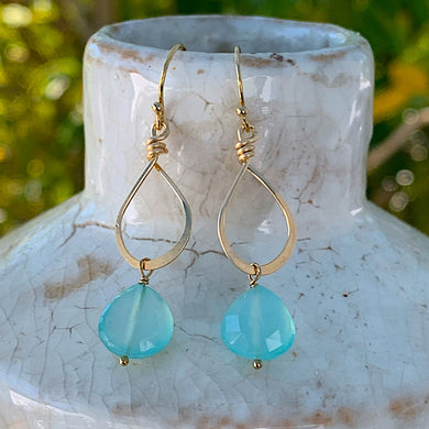 Petite Aqua Chalcedony Gold Earrings