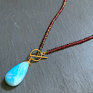 Garnet and Larimar Front Toggle Necklace