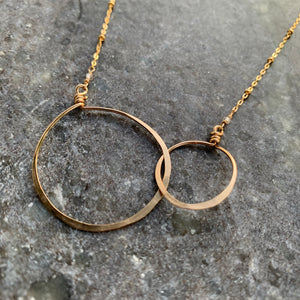 Gold Double Circles Necklace (Medium) 18""