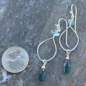 Simple Deep Sea Hoop Earrings (Sterling)